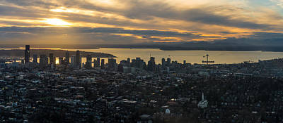 Aerial Seattle Skyline Panorama Looking West Poster by Mike Reid