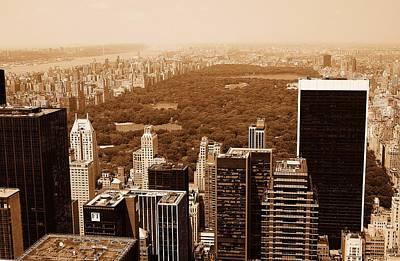 Aerial View Central Park Poster by Allan Einhorn