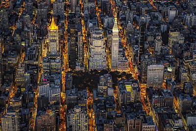 Aerial View Flatiron District Poster by Susan Candelario