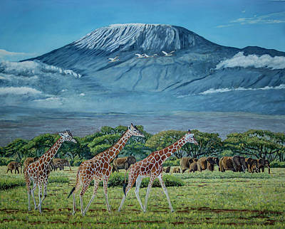 African Giants At Mount Kilimanjaro, Original Oil Painting 48x60 In On Gallery Canvas Poster by Manuel Lopez