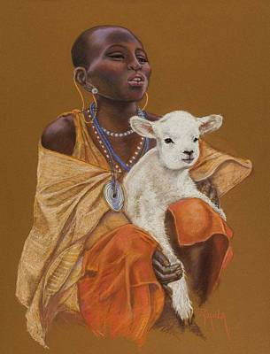 African Girl With Lamb Poster by Pamela Mccabe