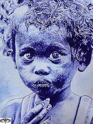 African Hungry Boy Poster by Vardan Hovakimyan