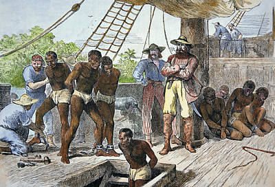 African Slaves Being Taken On Board Ship Bound For Usa Poster by American School