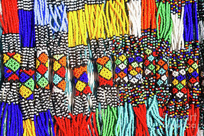 African Tribal Necklaces Poster by Jane Rix