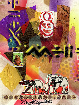 Afro Collage - O Poster by Everett Spruill
