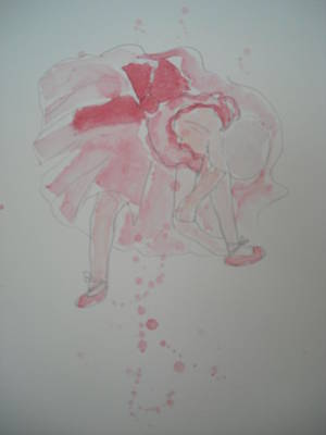 After Degas In Watercolour 'ballerina Tying Her Shoes' Poster by Maro Kirby