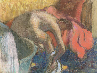 After The Bath, Woman Drying Her Leg   The Red Robe Poster by Edgar Degas
