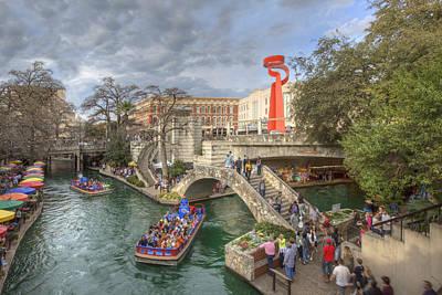 Afternoon Along Riverwalk In San Antonio Texas 1 Poster by Rob Greebon