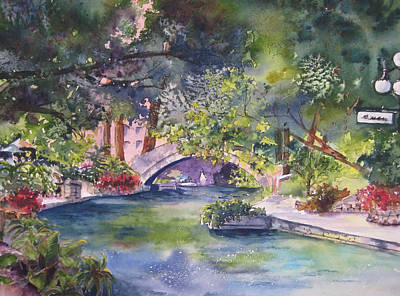 Afternoon On The San Antonio Riverwalk Poster by Kate Wyman