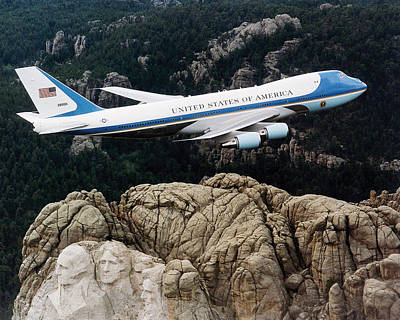 Air Force One Flying Over Mount Rushmore Poster by War Is Hell Store