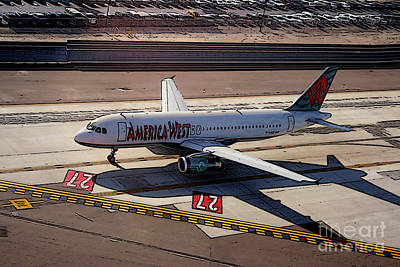 Airbus A320-231 Preparing For Takeoff America West Airlines Poster by Wernher Krutein