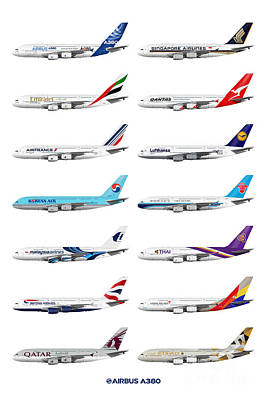 Airbus A380 Operators Illustration Poster by Steve H Clark Photography