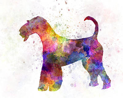 Airedale Terrier 01 In Watercolor Poster by Pablo Romero