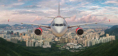 Airplane Over Hongkong Island Poster by Anek Suwannaphoom