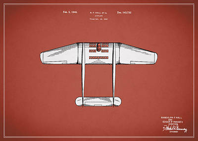 Airplane Patent From 1946 Poster by Mark Rogan