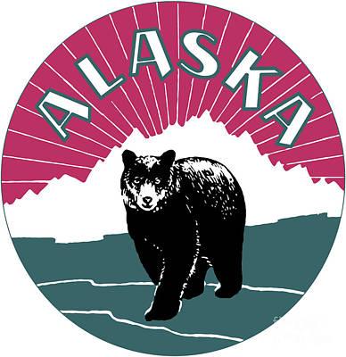 Alaska Travel Black Bear Poster by Aapshop