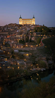 Alcazar Night Toledo Spain Poster by Joan Carroll