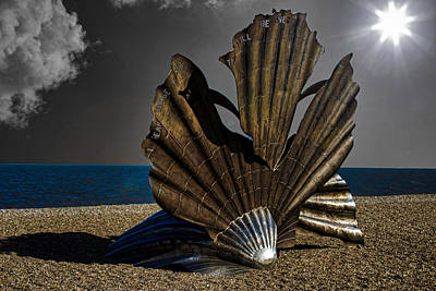 Aldeburgh Beach Shell Sculpture Poster by Martin Newman