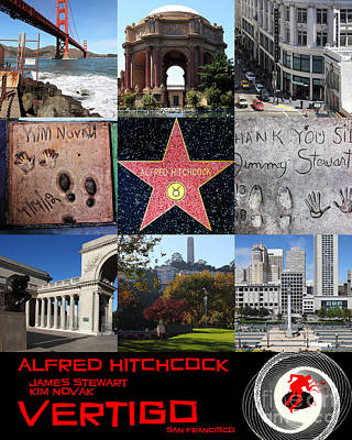 Alfred Hitchcock Jimmy Stewart Kim Novak Vertigo San Francisco 20150608 Text Black Poster by Wingsdomain Art and Photography