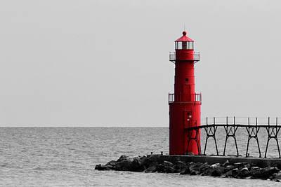 Algoma Lighthouse Bwc Poster by Mark J Seefeldt