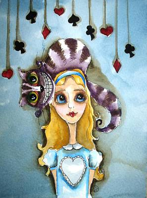 Alice And Cheshire Cat Poster by Lucia Stewart