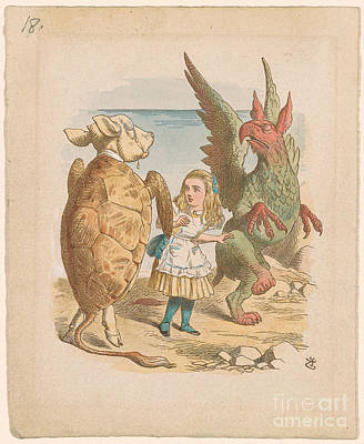 Alice With Gryphon And Mock Turtle Poster by John Tenniel