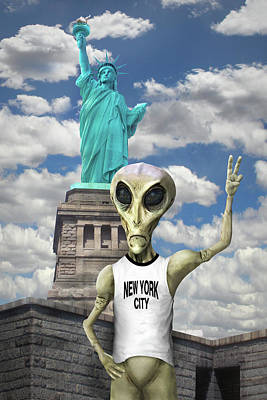 Alien Vacation - New York City Poster by Mike McGlothlen