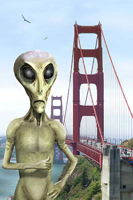 Alien Vacation - San Francisco Poster by Mike McGlothlen