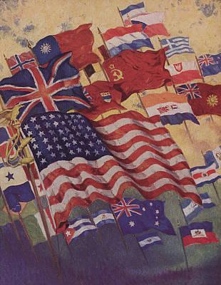 Allied Flags - World War II  Poster by American School