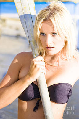 Alluring Blonde Rower Poster by Jorgo Photography - Wall Art Gallery