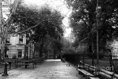 Alone In City Hall Park Mono Poster by John Rizzuto