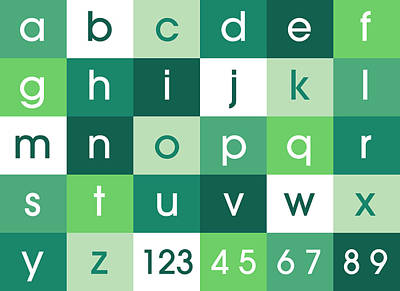Alphabet Green Poster by Michael Tompsett