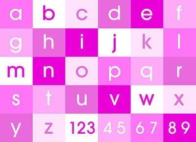 Alphabet Pink Poster by Michael Tompsett
