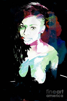 Amani African American Nude Fine Art Painting Print 4966.03 Poster by Kendree Miller