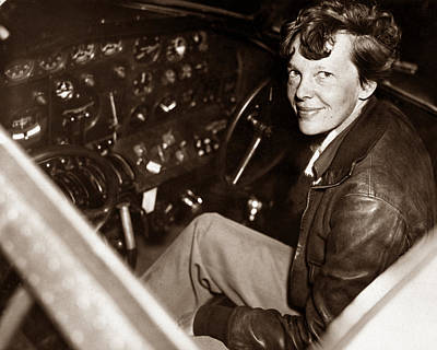 Amelia Earhart Sitting In Airplane Cockpit Poster by War Is Hell Store