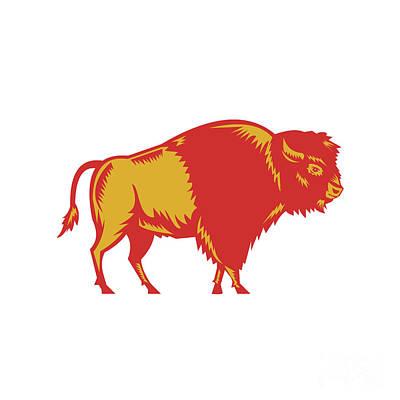 American Bison Side Woodcut Poster by Aloysius Patrimonio
