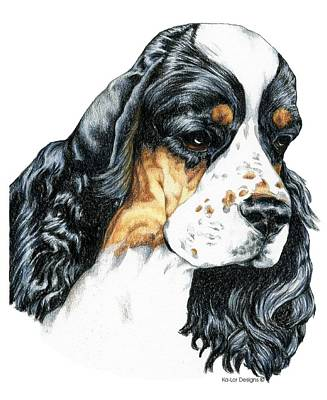 American Cocker Spaniel Parti Color Portrait Poster by Kathleen Sepulveda