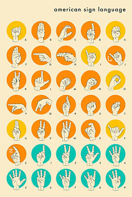 American Sign Language Hand Alphabet Poster by Jazzberry Blue