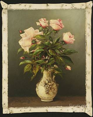 American Title Vase Of Roses Poster by Thomas Addison Richards