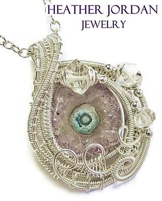 Amethyst Stalactite Slice Druzy Wire-wrapped Pendant In Sterling Silver With Herkimer Diamonds Poster by Heather Jordan