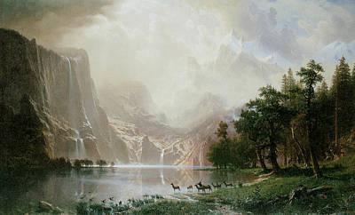 Among The Sierra Nevada Mountains California Poster by Albert Bierstadt