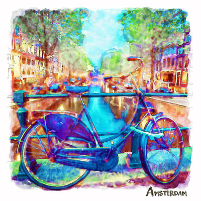 Amsterdam Bicycle Poster by Marian Voicu