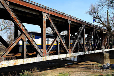 Amtrak California Crossing The Old Sacramento Southern Pacific Train Bridge . 7d11410 Poster by Wingsdomain Art and Photography