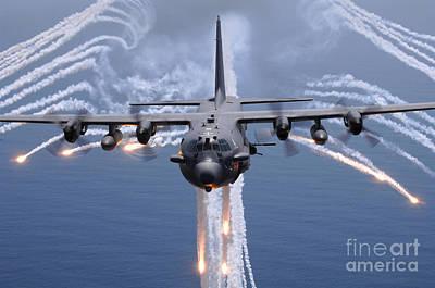 An Ac-130h Gunship Aircraft Jettisons Poster by Stocktrek Images