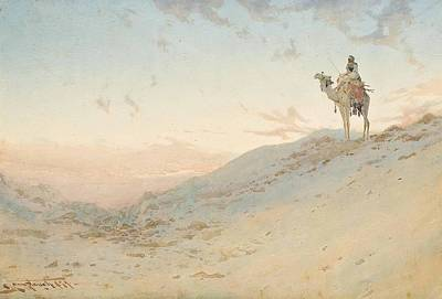 An Arab On A Camel Surveying Poster by Augustus Osborne