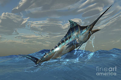 An Iridescent Blue Marlin Bursts Poster by Corey Ford