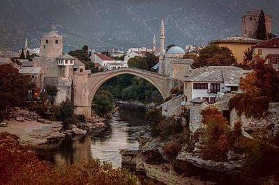 An Old Bridge In Mostar Poster by Jaroslaw Blaminsky