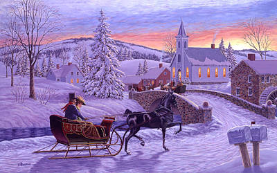 Sleigh Poster featuring the painting An Old Fashioned Christmas by Richard De Wolfe
