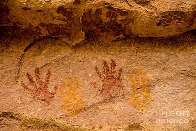 Anasazi Painted Handprints - Utah Poster by Gary Whitton