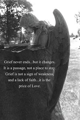 Angel At Grave - Mourning Angel, Sad Angel Art, Grieving Cemetery Angel Decor - The Price Of Love Poster by Kathy Fornal